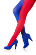 Woman with stockings of french flag colours