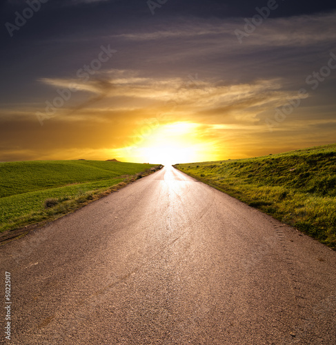 Sunset Rural Road