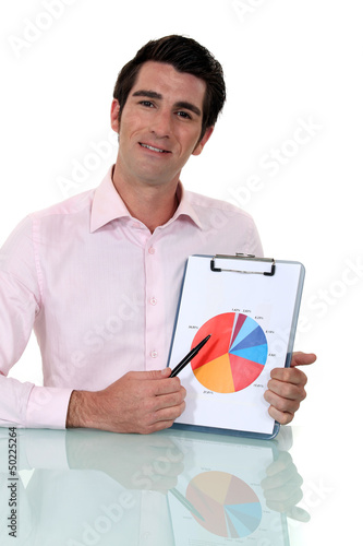 Salesman showing graph of earnings