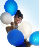 Happy smiling woman with balloons