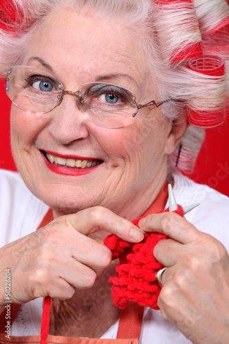 Elderly lady knitting