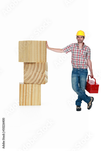 Carpenter with a toolbox