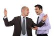 duo of businessman discussing in expressive way