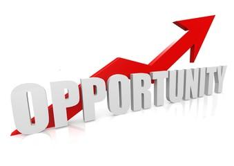 Opportunity with upward red arrow
