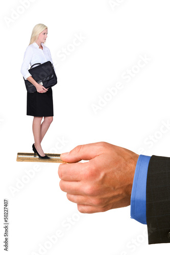 Blond businesswoman holding briefcase