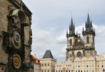 Orloj and Church of Mother of God before Tyn, Prague