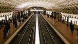 Time lapse of commuters on metro train Washington DC USA