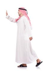 Arab businessman pushing isolated on the white