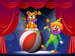 A tiger and a clown performing at the stage