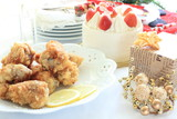 fried chicken and cake for christmas party food image