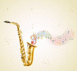 A saxophone with musical notes