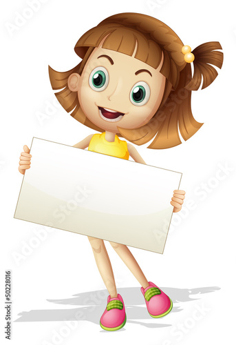 A girl with a card board