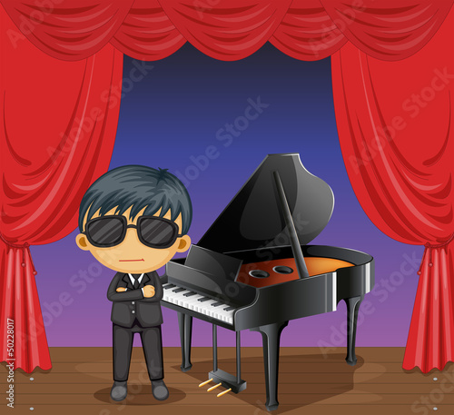 A piano with a pianist
