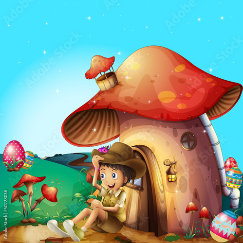 Foto op Canvas Magische wereld A boy at his mushroom house