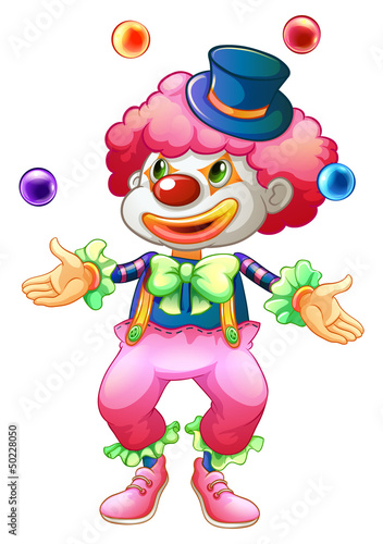A clown with her balls