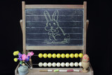 happy Easter rabbit on blackboard