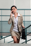 Busy businesswoman between meetings