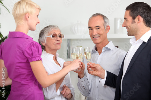 Family with champagne glasses