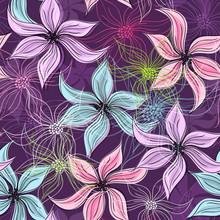 Повторяя фиолетовым цветочным узором