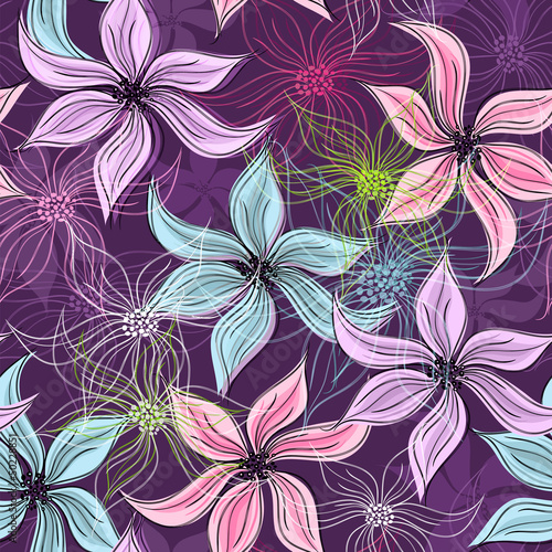 Tuinposter Abstract bloemen Repeating violet floral pattern