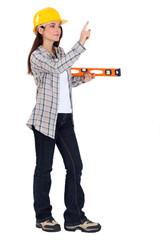 female carpenter with ruler