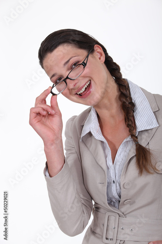portrait of businesswoman looking happy