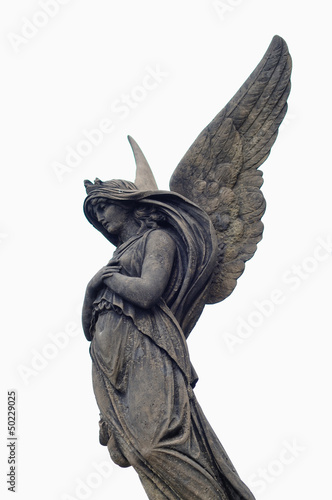 Sculpture of Angel at a old Prague cemetery Vysehrad