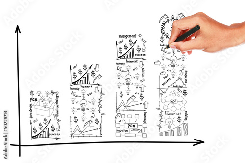Hand drawn graph business plan creative concept