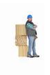 Builder leaning against blocks of wood