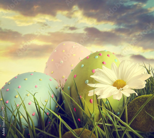 Large easter eggs in the tall grass