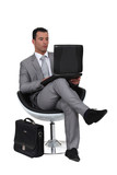 Businessman using a laptop