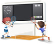 Two boys playing tennis with a big scoreboard