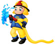 A fireman holding a yellow water hose