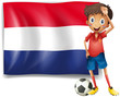 The flag of Netherlands with a soccer player