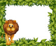 A lion in front of an empty leafy frame