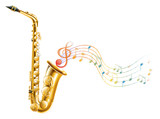 A golden saxophone with musical notes
