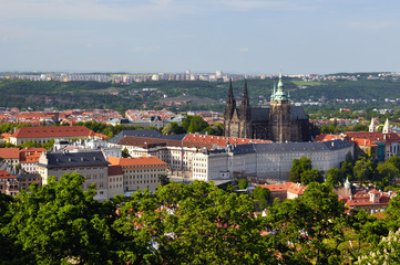 View of Prague city from Petrin tower