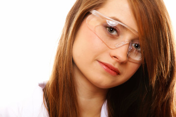 Portrait female chemist using glasses isolated