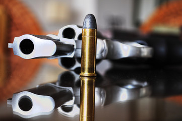 Gun with bullet.