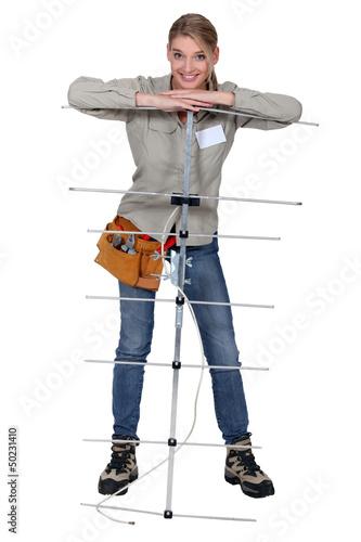 Young antenna installer