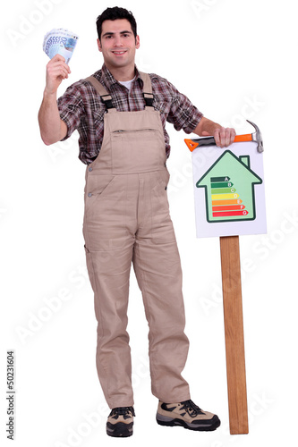 Worker holding  energy efficiency  chart