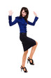 Business woman jumping with happiness