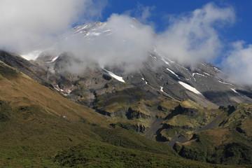 Taranaki volcano covered by clouds