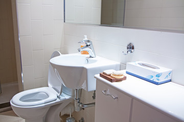 Bathroom with shower, sink and toilet bowl