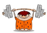 Cartoon caveman weight lifting on white background