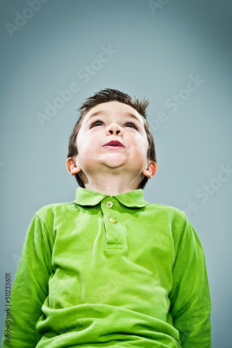 Funny Kid Looking Up