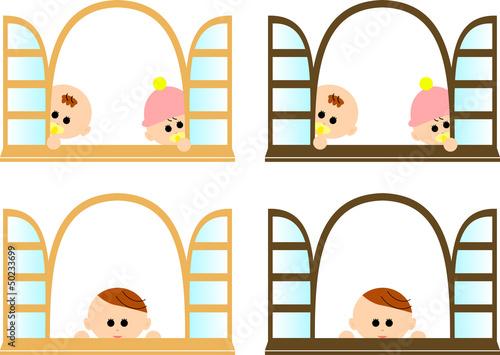 赤ちゃんと窓