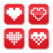 Pixel heart love vector bred buttons set