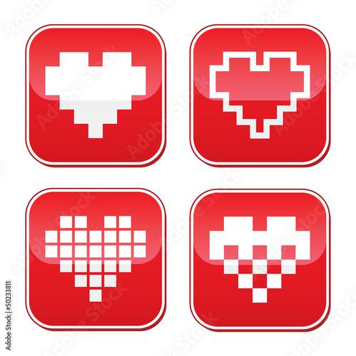 Pixel heart love vector bred buttons set