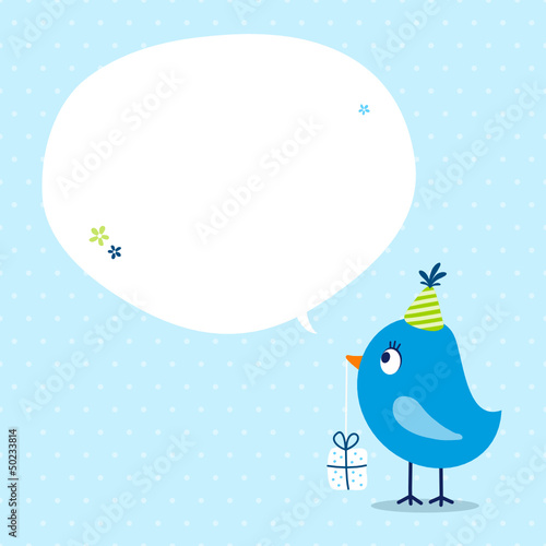 Blue Bird Birthday Gift Speech Bubble Dots